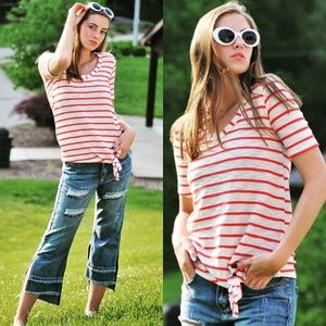 Pink and White Striped Front Tie Tee